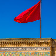 Flag of Morocco at the Royal Palace.