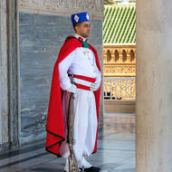 Guard at the door of the Mausoleum of King Mohammed V.