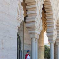 Guard at the rear of the Mausoleum of King Mohammed V.