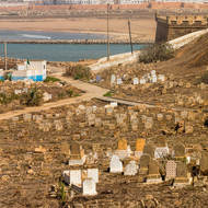 Cemetery outside the Oudaya Kasbah walls and overlooking the mouth of the Oued Bouregreg river.