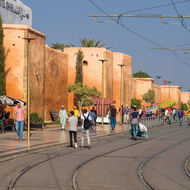 Streetcar route outside the walls of the Rabat Medina.