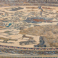 Well preserved mosaic in the house of Orpheus.