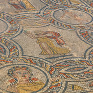 Mosaic in the House of Dionysus, the four seasons and the four muses.