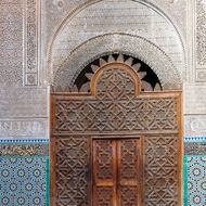 Carved courtyard door.