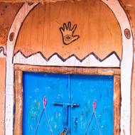 Doorway with hand of Fatima protection.