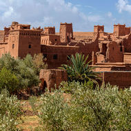 Kasbahs over the river Asif Ounila from Ait Benhaddou.