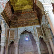 Ornate decoration inside the Saadian Tombs.