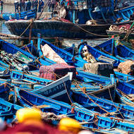 Busy Essaouira fishing port.