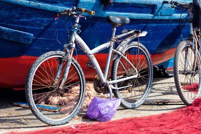 Thumbnail image of Three Bs: boat, bicycle and bag.