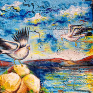 Seagulls in flight street art.