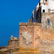 Walls and towers around the medina of Essaouira.