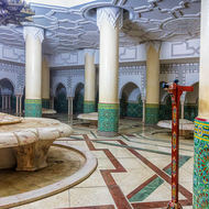 Beneath the main floor of the Hassan II mosque, the men's ritual Wudu ablution area.