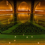 Women's ritual Wudu ablution area beneath the mosque.