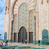 Doors at the western end of the southern external wall of the Hassan II mosque.