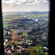 Looking east over the town of Murwillumbah and the Tweed River.