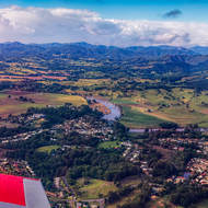 Looking west over the town of Murwillumbah towards Mt Warning in the clouds.