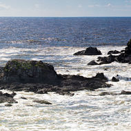 Panorama of the Three Sisters rocks off Broken Head, home to numerous sea birds.