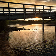 Sun sets behind footbridge over Tallow Creek.