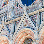 Façade detail of the Duomo of Siena.