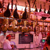 Macelleria, vendors of meat, garlic and chillies.