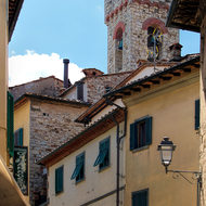 Narrow streets of Radda in Chianti village.