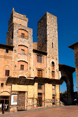 Thumbnail image of Towers around Piazza della Cisterna, twin towers...