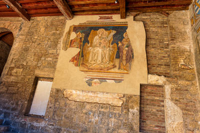 Thumbnail image ofFresco in the museum forecourt, part of the Palazzo...