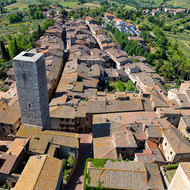 Southern part of San Gimignano towards Porta San Giovanni (gateway), from atop Torre Grossa, towards Torre Campatelli and the much smaller Torre Ficarelli.