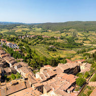 Panorama of San Gimignano from Torre Grossa, south to west, Torre Becci, Torre Campatelli and Torre Campanile.