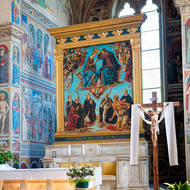 Religious art behind the altar of Sant'Agostino church.