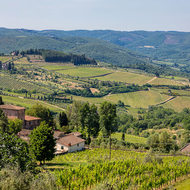 A panorama of the rolling Tuscan hills from Panzano in Chianti.