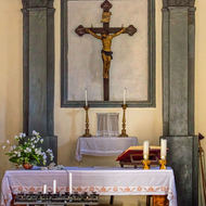 Inside the small church at Castello di Ama.