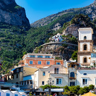 Ravine behind Positano, past the church of Santa Maria Assunta and tower.