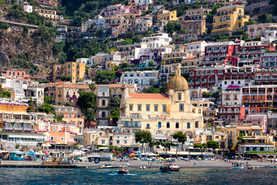 Thumbnail image of Positano from the sea, church of Santa Maria Assunta.