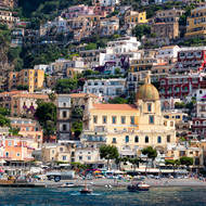 Positano from the sea, church of Santa Maria Assunta.