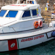 Coast guard patrol vessel in Capri's Marina Grande.