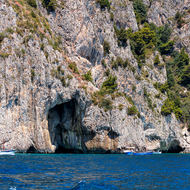 Sea caves along the coast of Capri.
