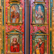 Religious art, decorated panels.