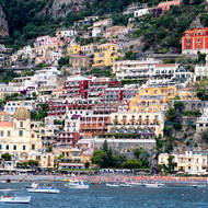 Positano, beach and town.