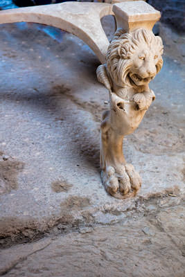Thumbnail image ofCarved marble table leg.