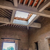 House ceiling with water collection confluvium above the atrium.
