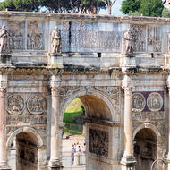 Arch of Constantine viewed from within the Colosseum.