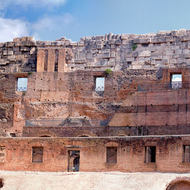 Panorama inside the Colosseum, west to north-east.