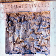 Panel on the Arch of Constantine, liberatori urbis, deliverer of the city.