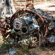 Pratt and Whitney radial engine from crashed B24 Liberator bomber, Beautiful Betsy.