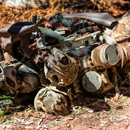Parts of Pratt and Whitney radial engine from crashed B24 Liberator bomber, Beautiful Betsy.