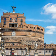 Castel Sant'Angelo, topped by the statue of Archangel Michael, across Ponte Sant�Angelo.