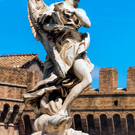 Angel with the Superscription INRI on Ponte Sant'Angelo.