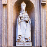 Statue of Saint Gregory the Illuminator in a niche outside St. Peter�s Basilica.