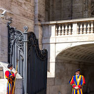 Swiss guards at entry under the Basilica.
